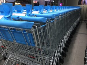 Troleys at the supermarket in a row