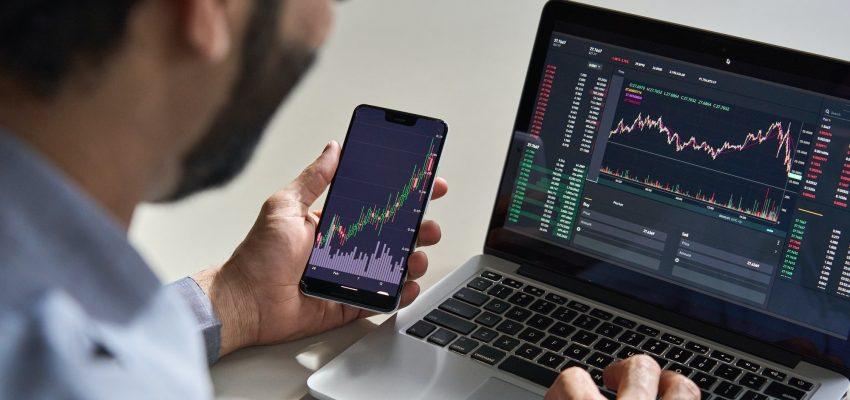 Business man trader investor analyst checking trading data.